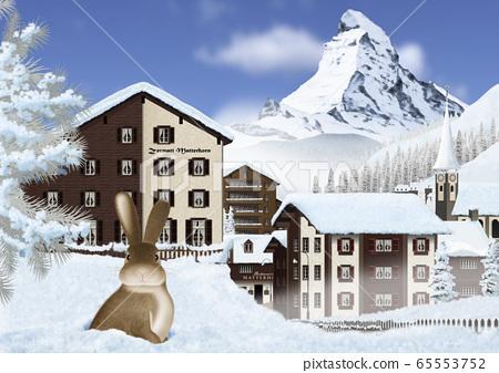 馬特宏峰和策馬特鎮和冬天的兔子的插圖 65553752