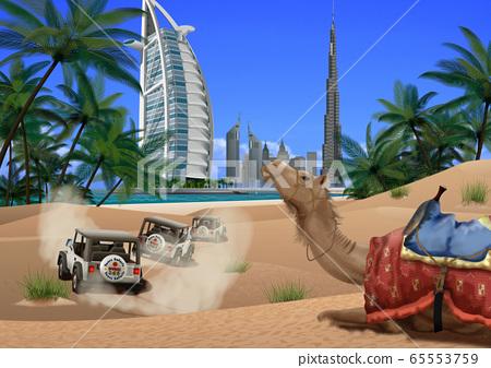 迪拜市和駱駝圖 65553759