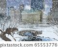 中央公園和松鼠在冬天的插圖 65553776