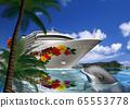 夏威夷豪華班輪和海豚的插圖 65553778