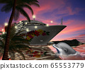 夏威夷豪華班輪和海豚的插圖 65553779