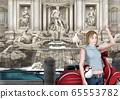 一個女人在特雷維噴泉扔硬幣的插圖 65553782