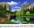 春季優勝美地國家公園景觀中的鹿的插圖 65553784