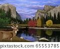 鹿在秋天優勝美地國家公園景觀的插圖 65553785
