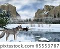 冬季優勝美地國家公園景觀和狐狸插圖 65553787