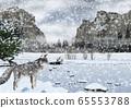 雪的優勝美地國家公園景觀和狐狸的插圖 65553788