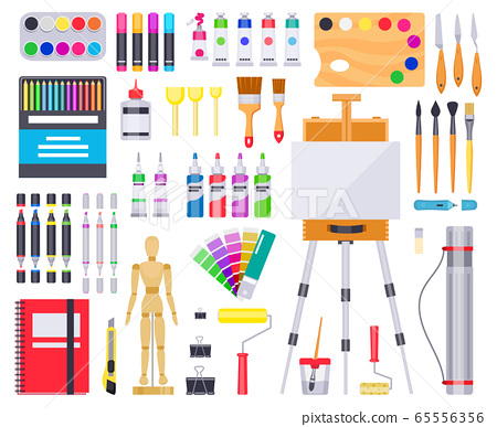 Art supplies. Painting and drawing materials, creative art tools, artistic supplies, paints, brushes and sketchbook vector illustration icons set 65556356