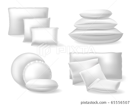 White realistic pillows. Comfort bed soft cushions, rest and sleep cozy cotton or linen pillows isolated vector illustration icons set 65556507