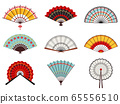 Asian hand fans. Paper folding hand fans, chinese, japanese decorative traditional oriental wooden fans vector illustration icons set 65556510