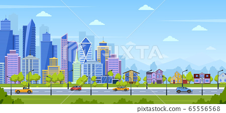 Modern city panorama. Urban town cityscape and nature landscape with suburban houses. Big city panoramic view vector illustration 65556568