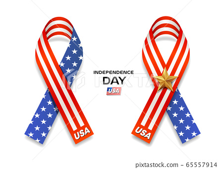 Vector Ribbons America flag independence day collection design isolated 65557914