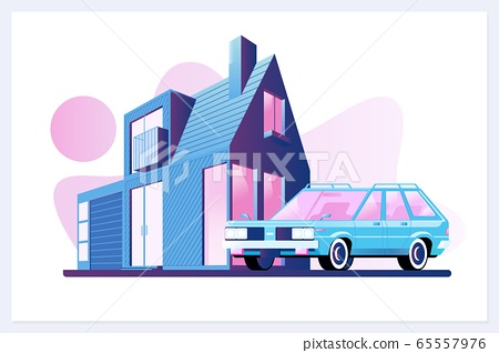 Family house village or town suburb property building with car.Flat vector illustration 65557976