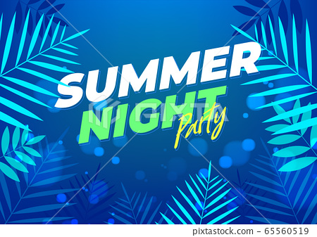Dark summer night party tropical background for banner or flyer with dark blue palm leaves. 65560519