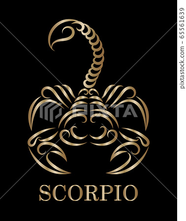 Golden line vector logo of a scorpion. It is sign of scorpio zodiac. 65561639