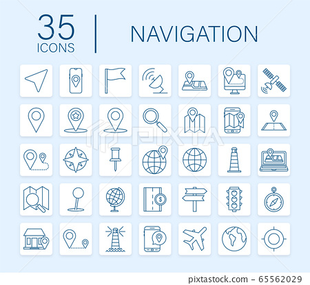Navigation and Map line icons set. Vector stock illustration. 65562029