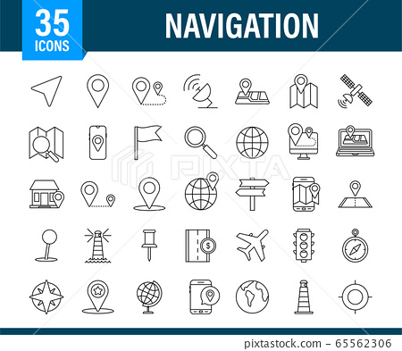 Navigation and Map line icons set. Vector stock illustration. 65562306