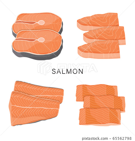 Set of Salmon, raw fish slice and meat steaks isolated on a white background. Cartoon Vector illustration 65562798