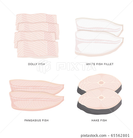 Set of raw fish slice and meat steaks isolated on a white background. Cartoon Vector illustration 65562801