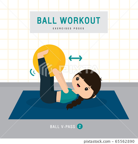 Ball Workout. Woman doing Stability ball exercise and yoga training at gym home, stay at home concept. Character Cartoon Vector illustration 65562890
