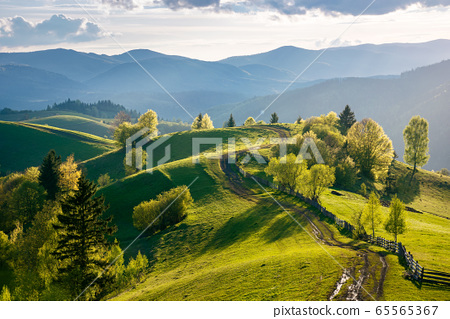 path through countryside fields. beautiful view of 65565367