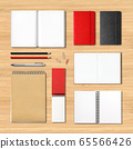stationery books and notebooks on a wooden 65566426