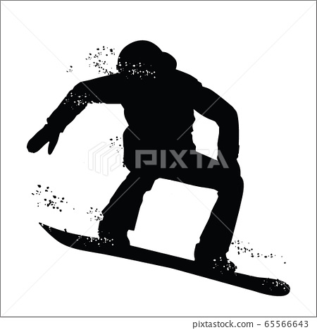 Black silhouette of snowboarder 65566643