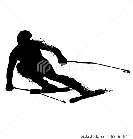 Alpine Skiing Silhouette isolated on white 65566673