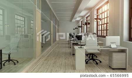 Front view of the office interior with large windows and a row of light wood tables. 3d rendering 65566995
