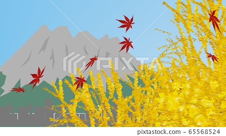 Autumn leaves season and landscape of active volcano, 3D rendering 65568524