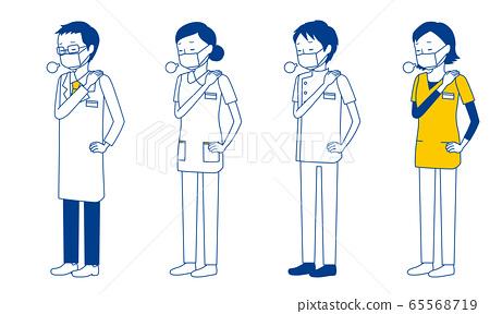 插圖的醫務人員(醫生,護士,物理治療師,放射線醫生)感到疲倦,將手放在肩膀上 65568719