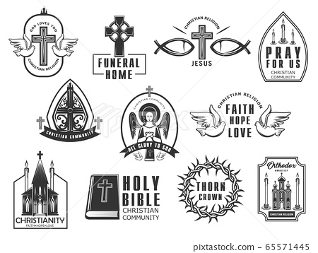 Christian religion isolated vector icons set. 65571445