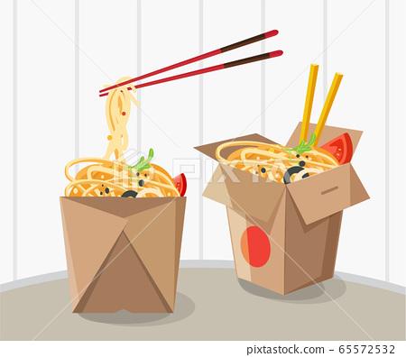 chinese food take away box, Take away box noodles 65572532
