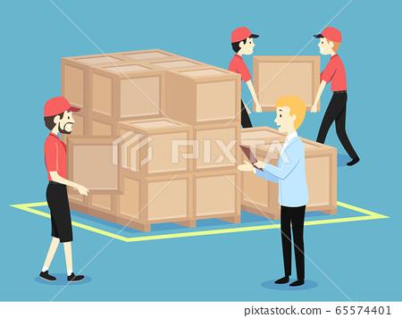 People Men Arrange Crates Boss Order Illustration 65574401