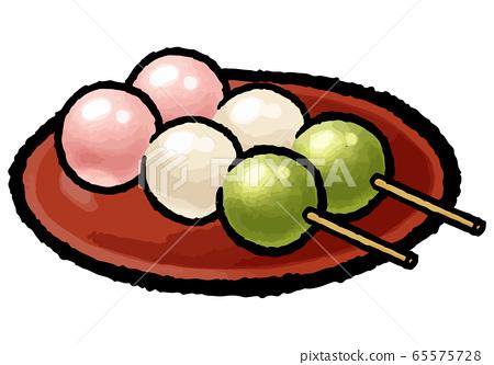 Three color dumplings 65575728