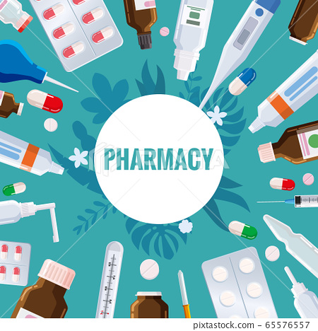 Pharmacy Template Frame With Blister Tubes Stock Illustration 65576557 Pixta