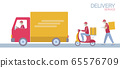 Delivery set cartoon shipping car truck walking courier. Scooter service address safety masks. Coronavirus contactless distance flat vector illustration 65576709