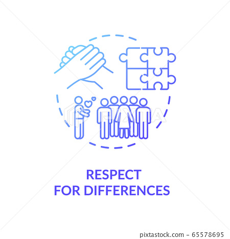 Respect for differences blue gradient concept icon 65578695
