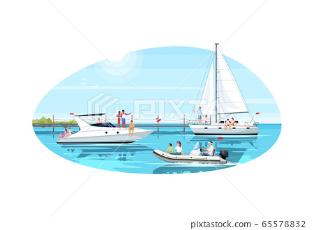 Multicultural group in yacht club semi flat vector illustration 65578832