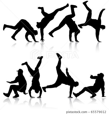 Set Black Silhouettes breakdancer on a white 65579012