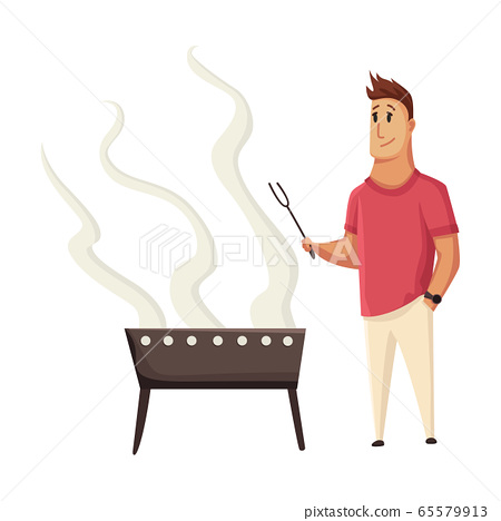 BBQ party. Man with a barbecue grill. Picnic with fresh food steak and sausages. Happy smiling man character cooking a barbecue grill. Vector flat cartoon illustration 65579913