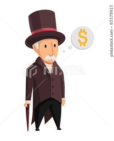 Image of a funny old man capitalist in a black suit and hat standing with a cane in his hands on a white background. Business, finance, monopoly, money 65579915