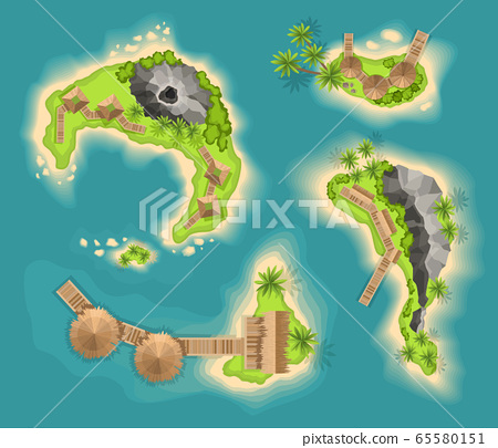 Top view islands with volcano. View from a height on a tropical island in the ocean. Vector cartoon tropical paradise sea island shore. Good sunny day 65580151