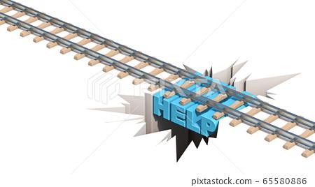 Railway danger Help concept 3D 65580886