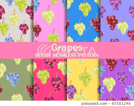 Grapes set of seamless pattern. Bunches of grapes 65581240