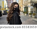 Girl posing outdoors during pandemic of COVID-19 65583659