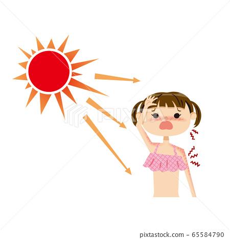 어린이 수영복 선탠 02 태양 상반신 65584790
