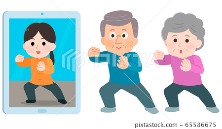 Online lesson tai chi elderly men and women illustration 65586675