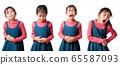 Multiple shot of asian girl having painful stomach 65587093