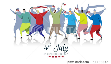 American people participants carrying the America flag waved while Fourth of July parade. vector background banner for independence day celebration isolated on white background 65588832
