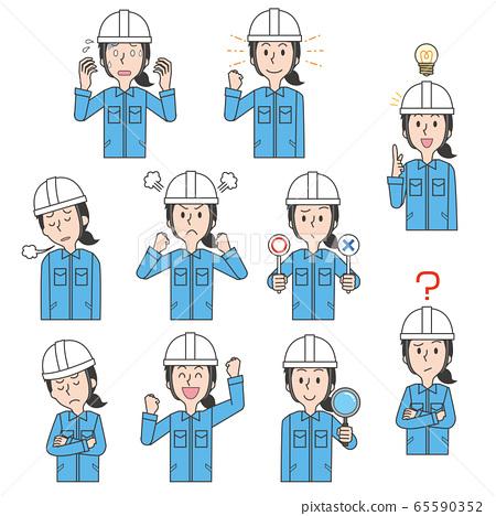 Worker worker woman factory helmet work clothes set 65590352
